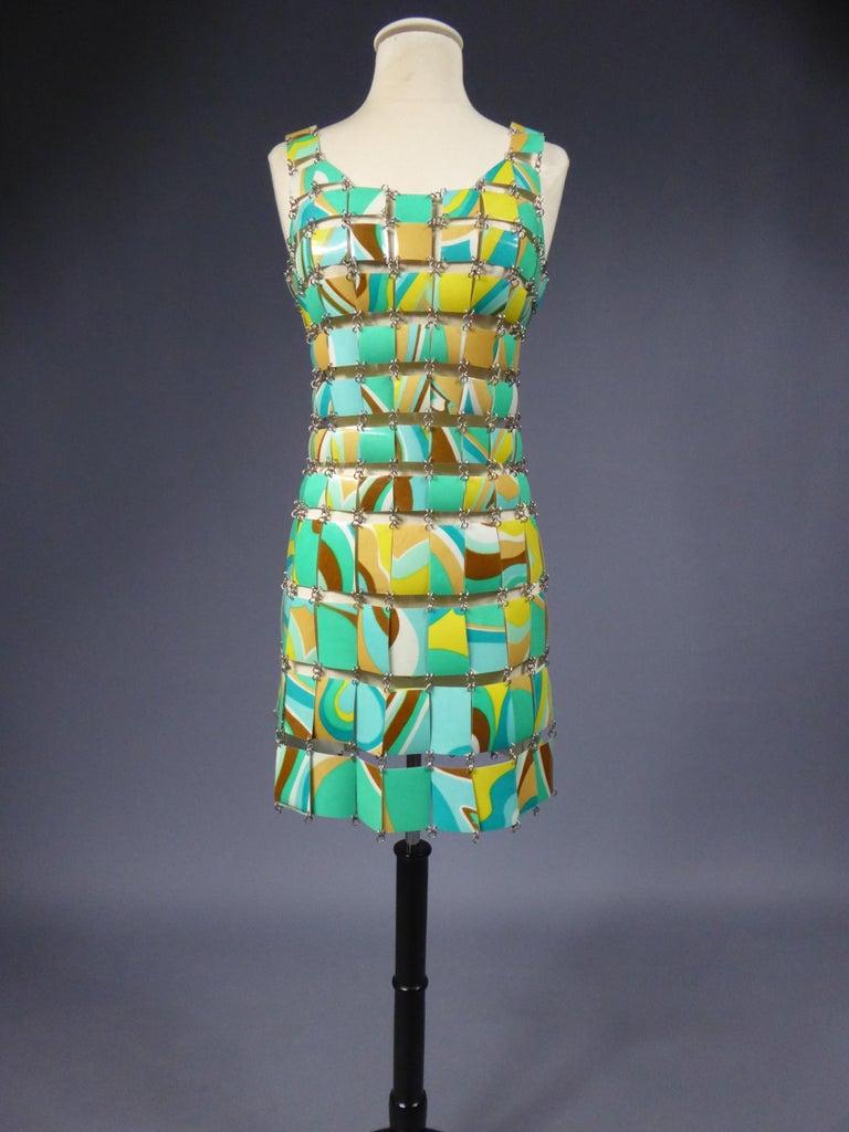 A Paco Rabanne Printed Rhodoïd Lamellae Couture Dress Paris Circa 1967/1970 For Sale 5