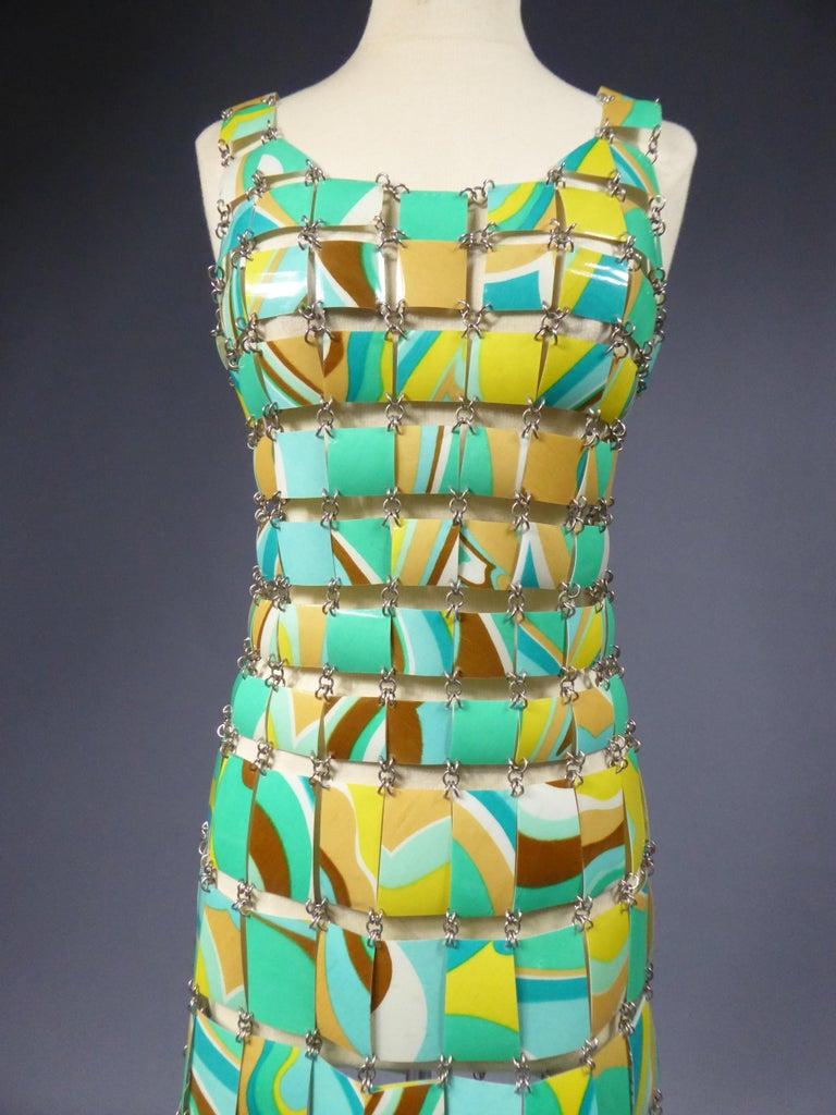 A Paco Rabanne Printed Rhodoïd Lamellae Couture Dress Paris Circa 1967/1970 For Sale 6