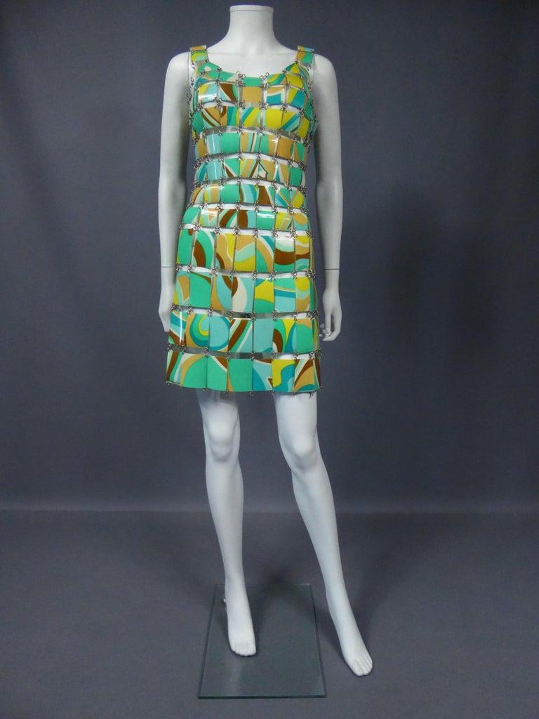 A Paco Rabanne Printed Rhodoïd Lamellae Couture Dress Paris Circa 1967/1970 For Sale 10