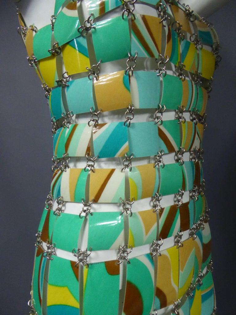 Women's A Paco Rabanne Printed Rhodoïd Lamellae Couture Dress Paris Circa 1967/1970 For Sale