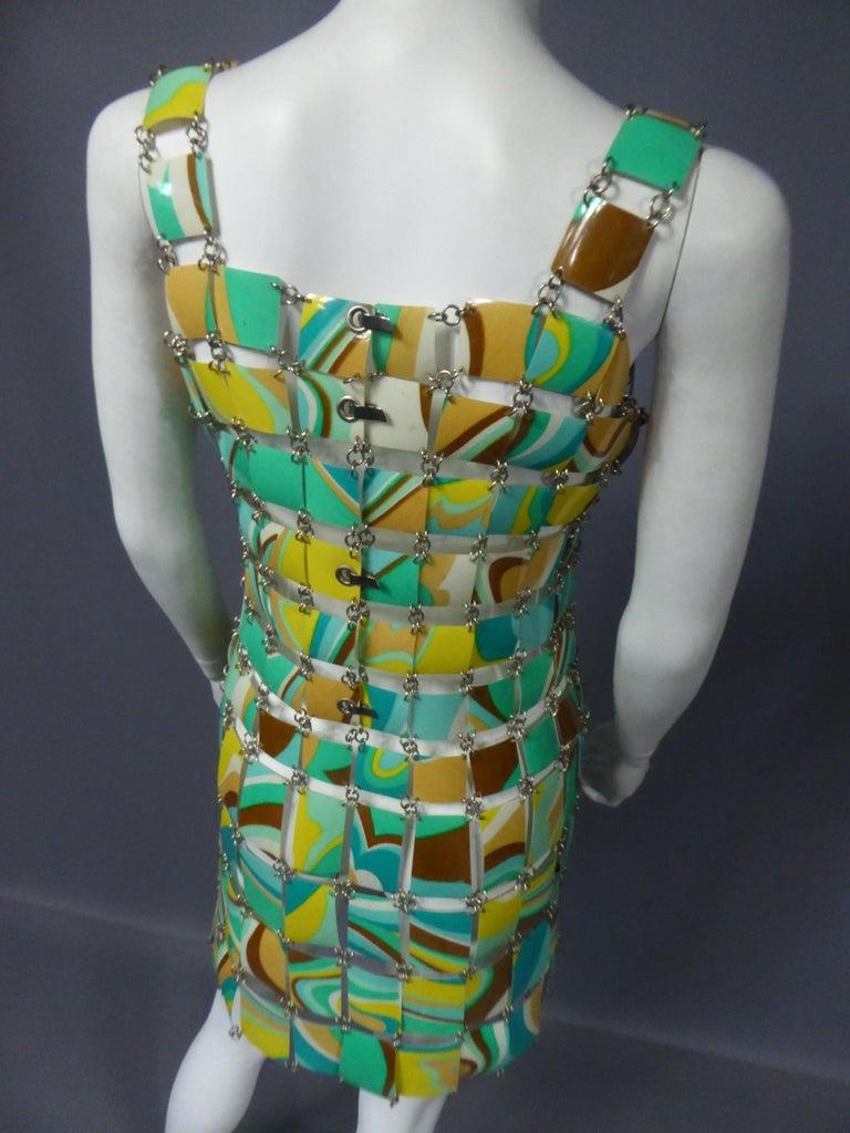A Paco Rabanne Printed Rhodoïd Lamellae Couture Dress Paris Circa 1967/1970 For Sale 3