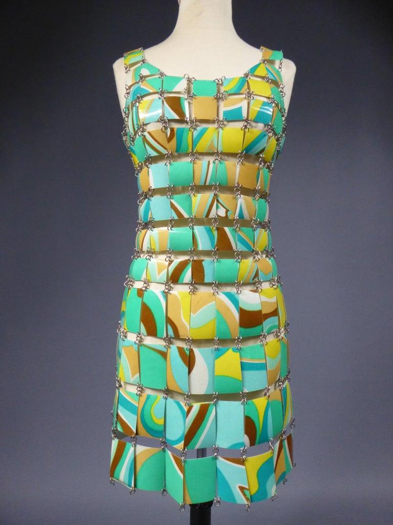 A Paco Rabanne Printed Rhodoïd Lamellae Couture Dress Paris Circa 1967/1970 For Sale 4