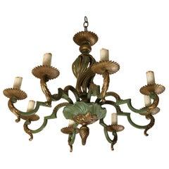 Painted Bronze Eight Light Chandelier