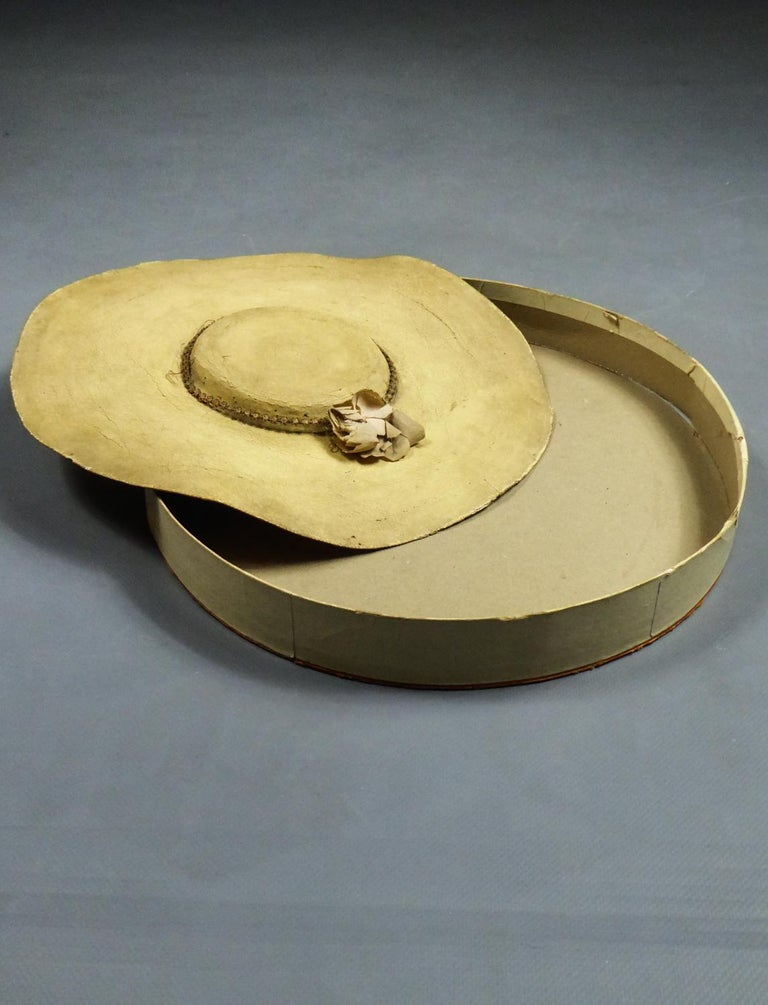 Women's A Painted Straw Bergère or Milkmaid's Hat - Europe Circa 1730-1780 For Sale