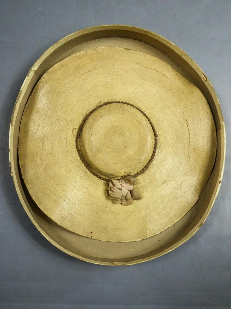 A Painted Straw Bergère or Milkmaid's Hat - Europe Circa 1730-1780 For Sale 1