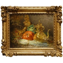 """A painting """"Still Life With Vegetables"""" oil on wood,  French School, circa 1880"""