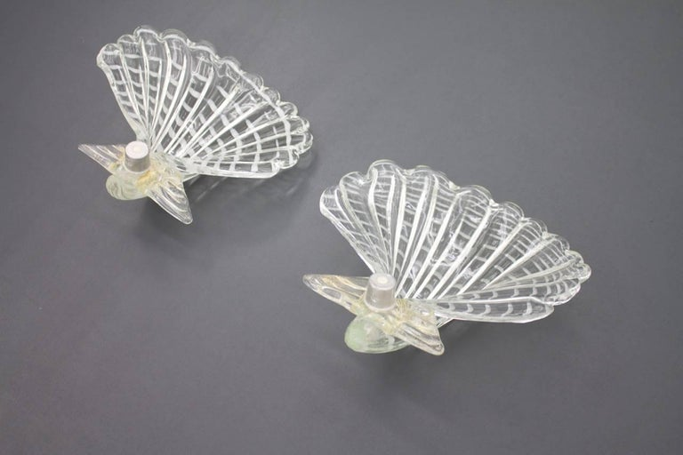 Mid-20th Century Pair of Murano Glass Shell Wall Sconces Lights, Italy, 1960s For Sale