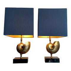 """Pair a Brass """"Nautilus"""" Lamps in the Style of Maison Charles with Blue Shades"""