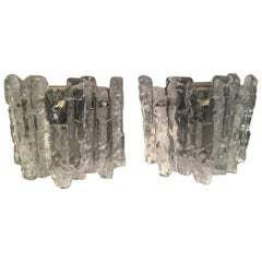 Pair of Austrian Ice Glass Sconces by J.T. Kalmar