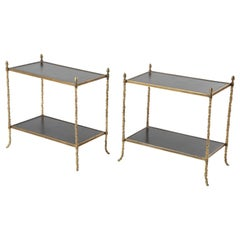 Pair of Baguès Leather and Gilt Bronze Side Tables