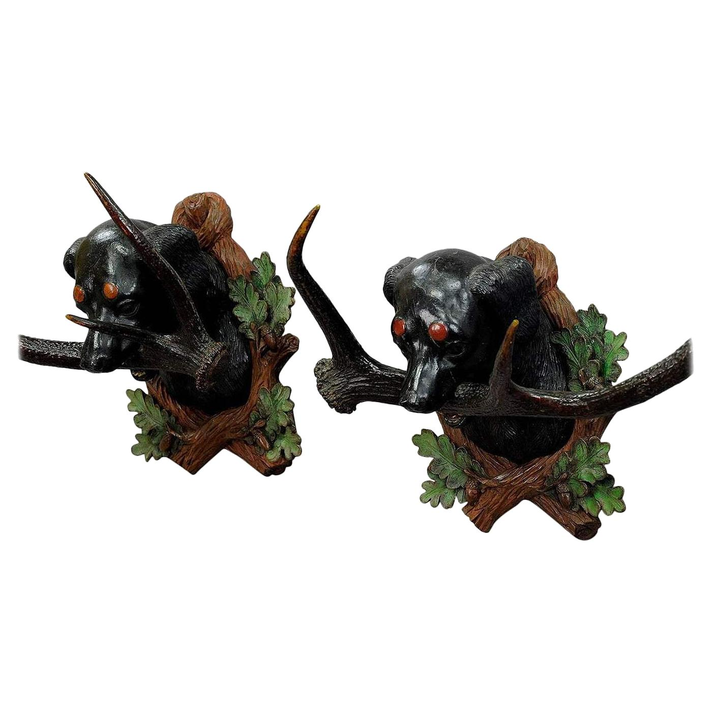 Pair of Carved Wood Staghound Heads by Rudolph Heissl