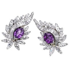 Pair Certified Purple Sapphire and Diamond Earclips