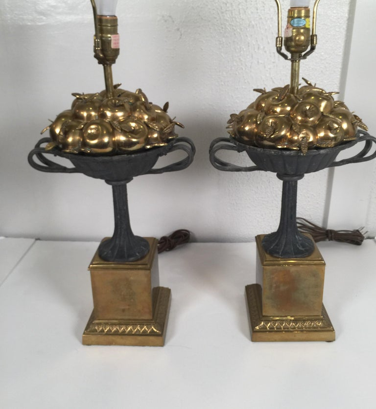 b6980aa6034e5 Pair of Chapman Brass and Iron Lamps For Sale at 1stdibs