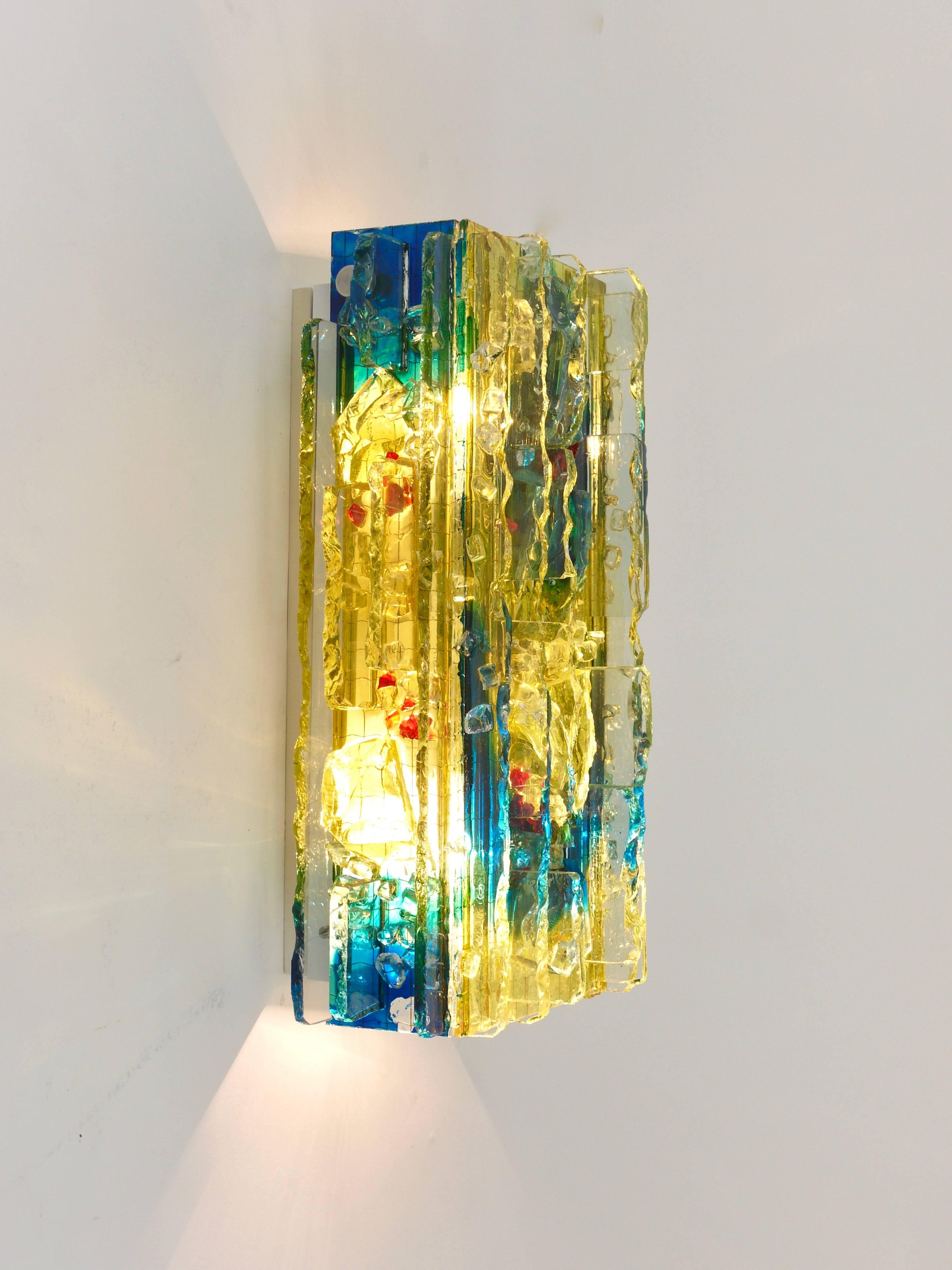 Pair 'Chartres\' Art Glass Sconces by A. Lankhorst for RAAK Amsterdam ...