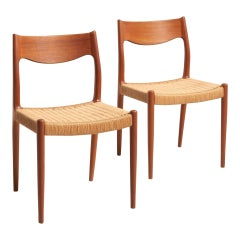 Pair of Dinning Chairs with Papercord Seat, 1960s