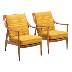 Pair FD 144 Armchairs, by Peter Hvidt & Orla Molgaard-Nielsen