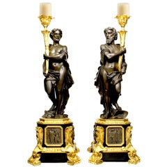 Pair French 19th Century Neoclassical Style Figural Candelabra by Henri Picard