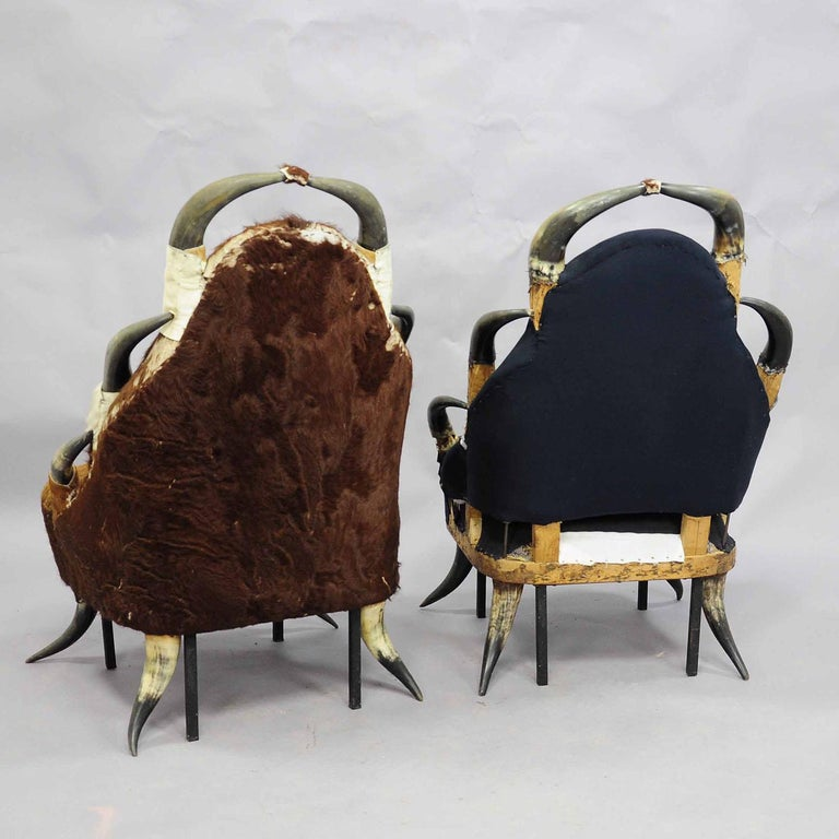 Black Forest Pair Great Antique Horn Chairs, Austria, circa 1870 For Sale