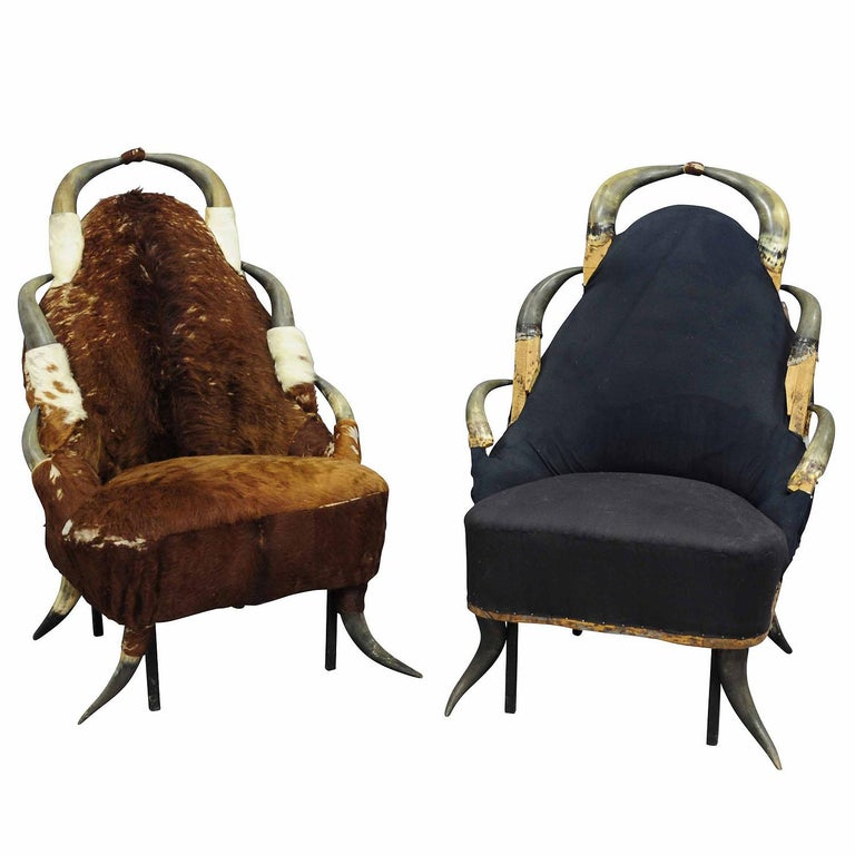 Austrian Pair Great Antique Horn Chairs, Austria, circa 1870 For Sale