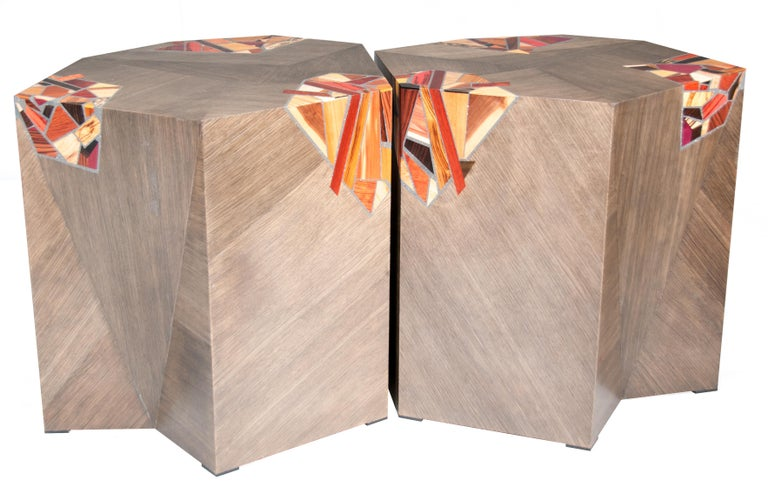 American Pair of Grey Angular Pedestal Form Modernists Mosaic Decorated Occasional Tables For Sale