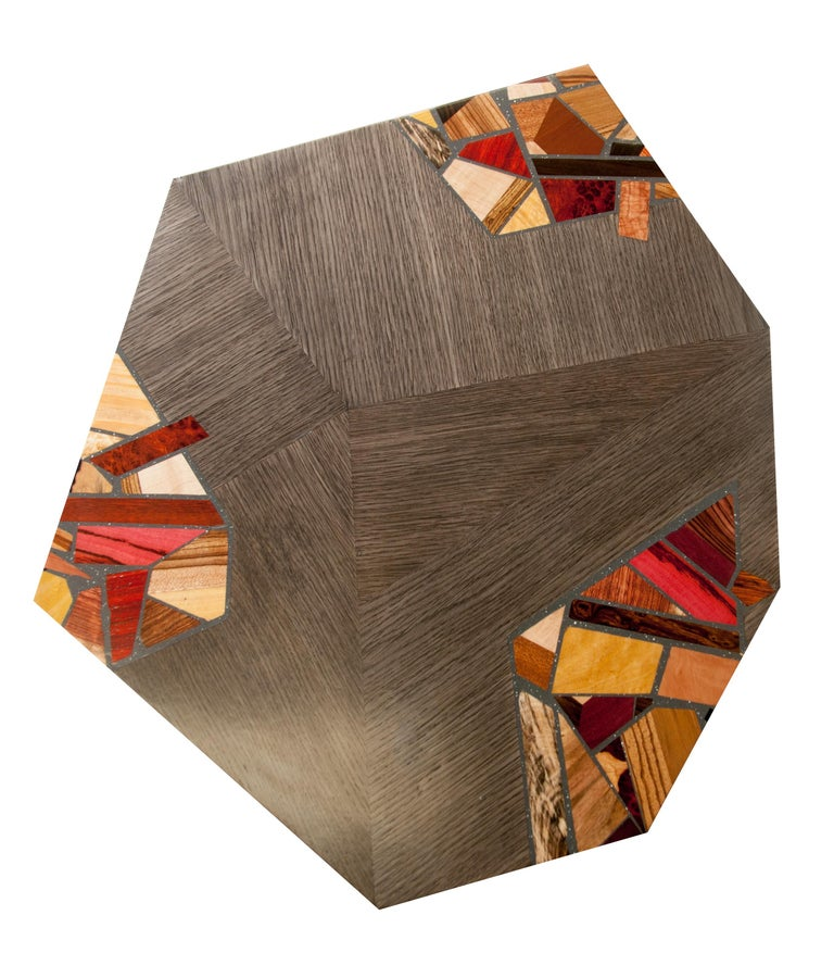 Oak Pair of Grey Angular Pedestal Form Modernists Mosaic Decorated Occasional Tables For Sale