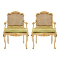 Pair Italian 18th Century Louis XV Period off White and Giltwood Armchairs