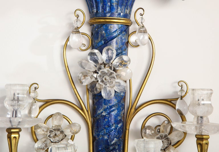 Late 19th Century Lapis Lazuli, Rock Crystal and Doré Bronze Four Arm Sconces, E.F. Caldwell, Pair For Sale