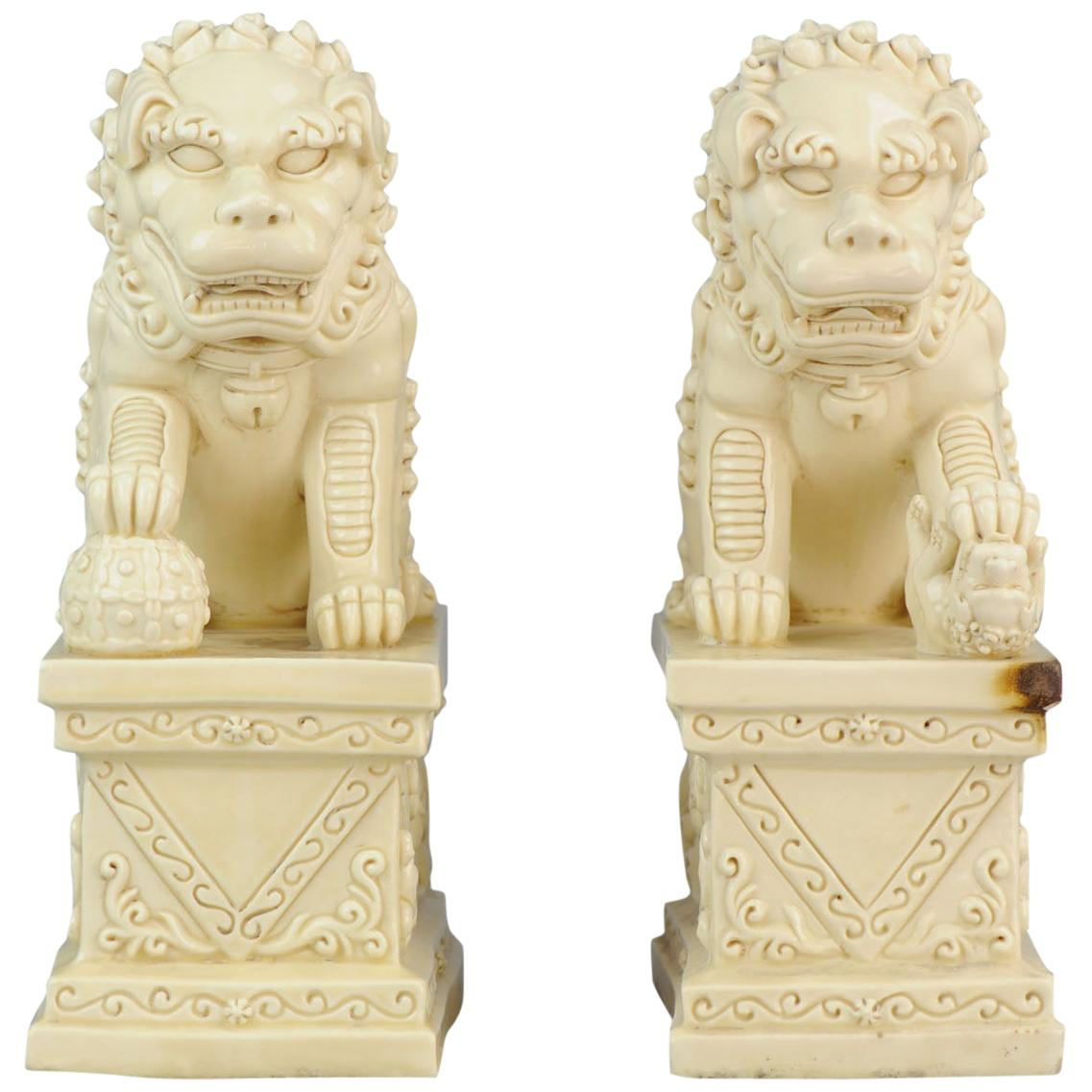 Pair of Large Marked Blanc de Chine Foo Dogs PRoC Period Dehua Chinese