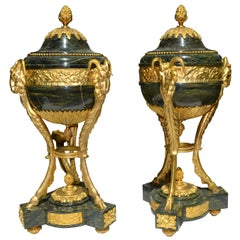 Pair of Louis XVI Style Verde Antico Marble and Gilt Bronze Lidded Cassolettes