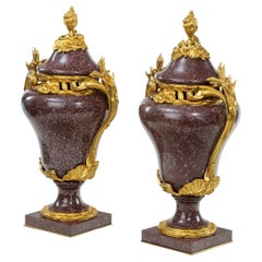 Pair Napoleon III Egyptian Imperial Porphyry Urns and Covers