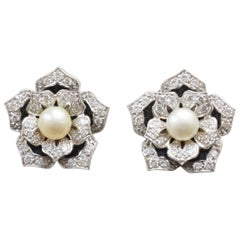 Pair of 14 Carat Gold Lotus Earrings with Diamond, Pearls and Black Enamel
