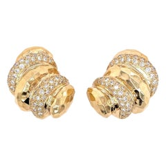 Pair of 14 Karat Yellow Gold and Diamond Earrings