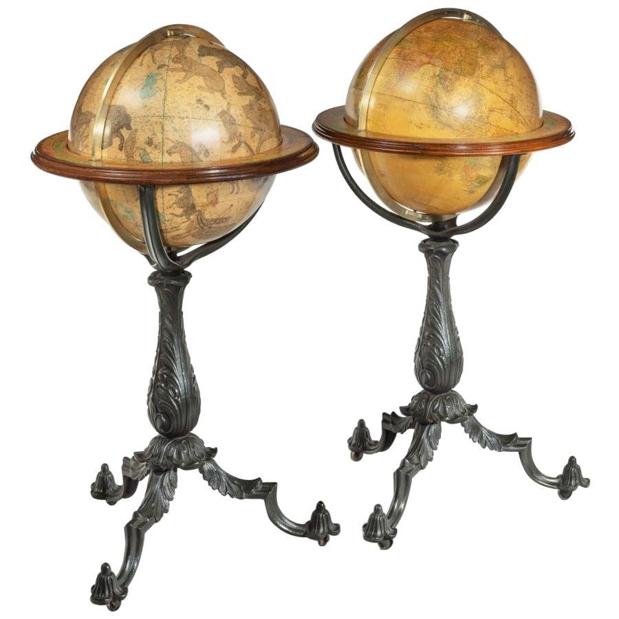 Pair of Floor Standing Globes by Gilman Joslin