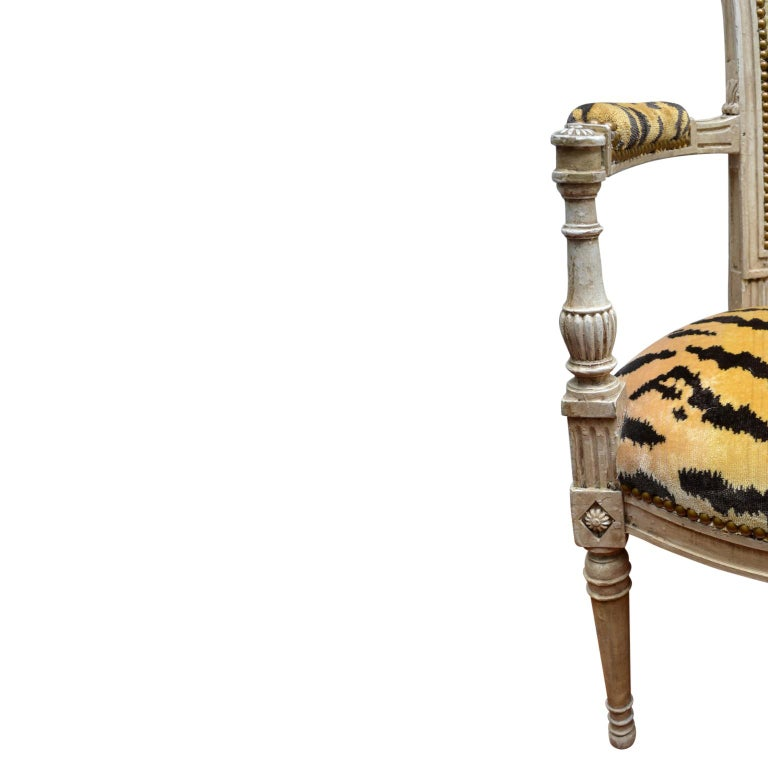 Pair of 18th Century Louis XVI Painted Armchairs For Sale 1