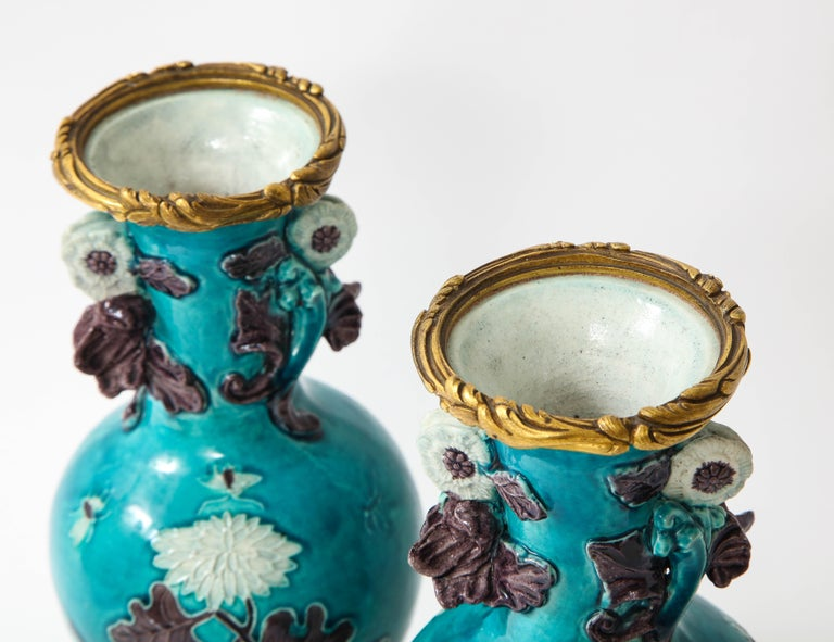 Pair of 18th Century Chinese Porcelain Vases with French Doré Bronze Mounts For Sale 5