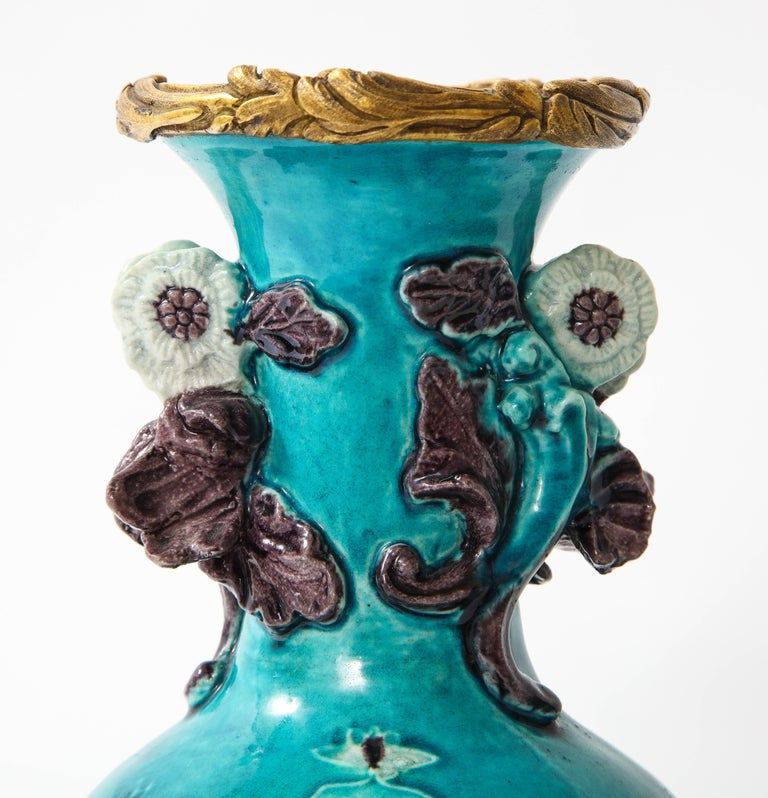 Pair of 18th Century Chinese Porcelain Vases with French Doré Bronze Mounts For Sale 7