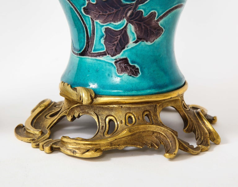Pair of 18th Century Chinese Porcelain Vases with French Doré Bronze Mounts For Sale 12