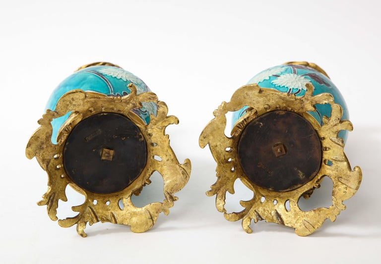 Pair of 18th Century Chinese Porcelain Vases with French Doré Bronze Mounts For Sale 13