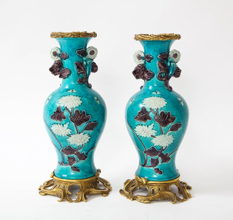 Louis XV Pair of 18th Century Chinese Porcelain Vases with French Doré Bronze Mounts For Sale