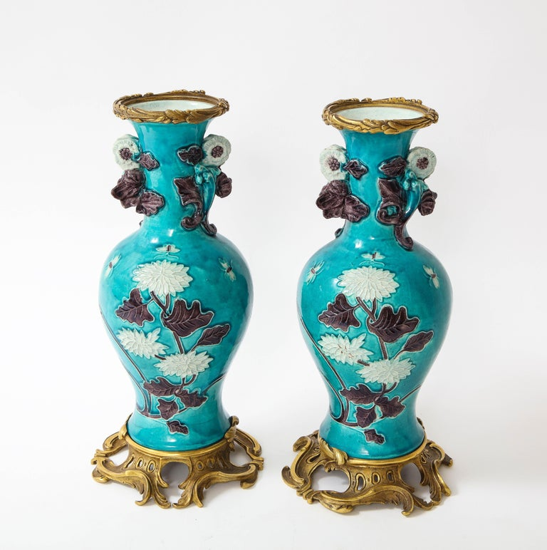 Enameled Pair of 18th Century Chinese Porcelain Vases with French Doré Bronze Mounts For Sale