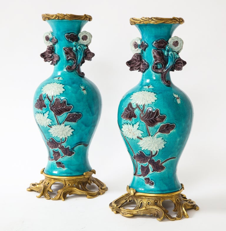 Pair of 18th Century Chinese Porcelain Vases with French Doré Bronze Mounts In Good Condition For Sale In New York, NY