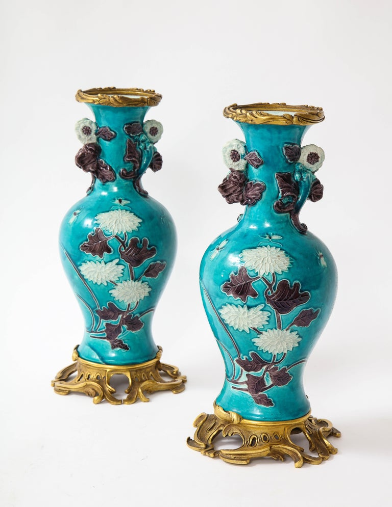 Pair of 18th Century Chinese Porcelain Vases with French Doré Bronze Mounts For Sale 1