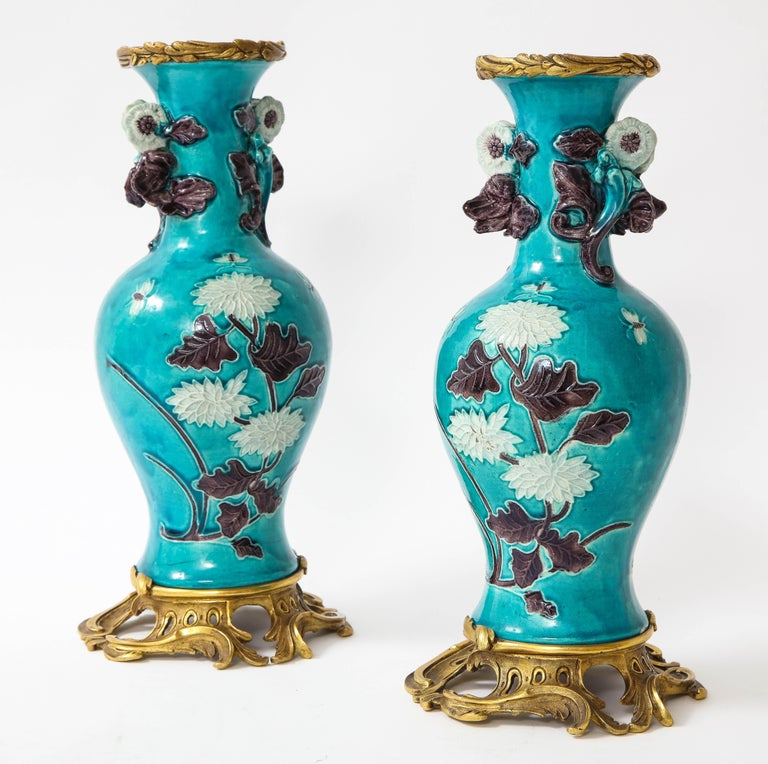 Pair of 18th Century Chinese Porcelain Vases with French Doré Bronze Mounts For Sale 2