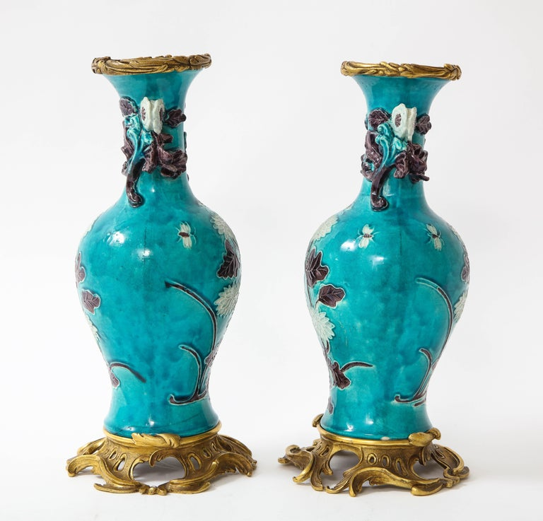 Pair of 18th Century Chinese Porcelain Vases with French Doré Bronze Mounts For Sale 3