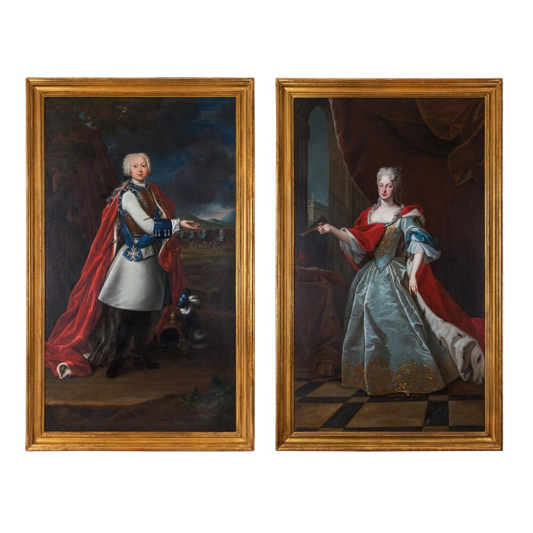 An extraordinary and monumental pair of 18th century École Française oil on canvas portraits of Marie-Josèphe of Habsbourg of Austria (1699-1757), wife of Frederick Augustus II of Saxony, Elector of Saxony, and of their son Frederick IV of Saxony