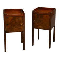 Pair of 18th Century George III period Mahogany Bedside Tables