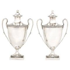 Pair of 18th Century George III Sterling Silver Sugar Vases