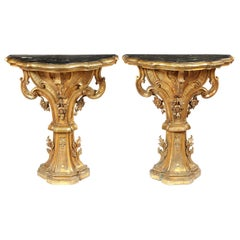 Pair of 18th Century Italian Carved Giltwood Console Tables