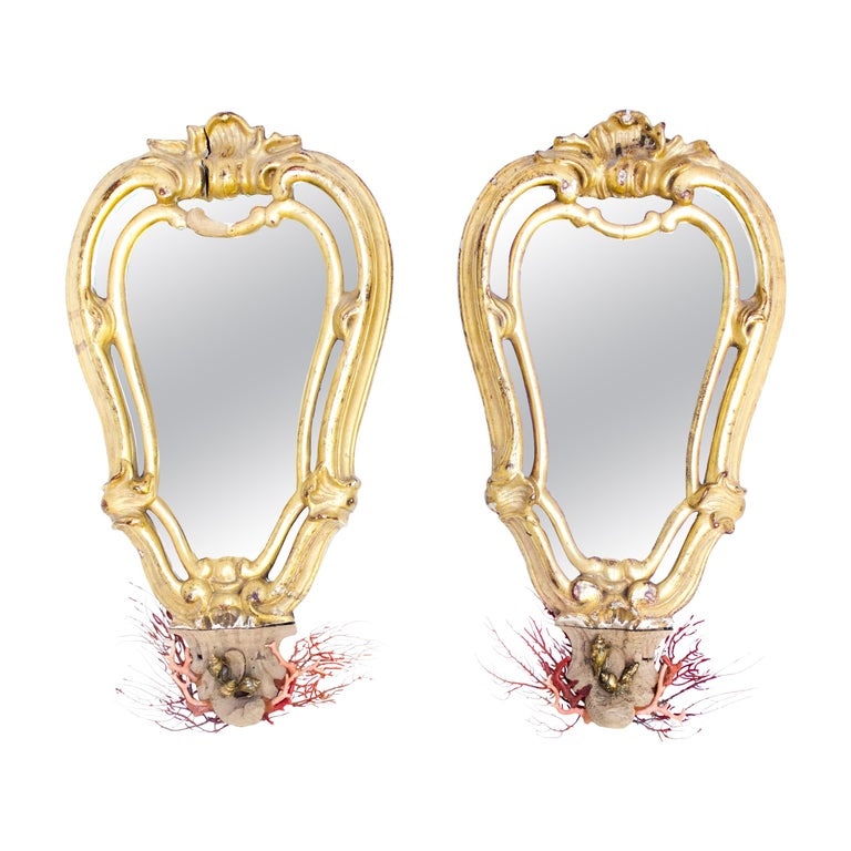 Pair of 18th Century Italian Mirrors Decorated with Mediterranean Coral For Sale