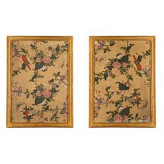 Pair of 18th Century Panels of Hand Painted Asian Silk